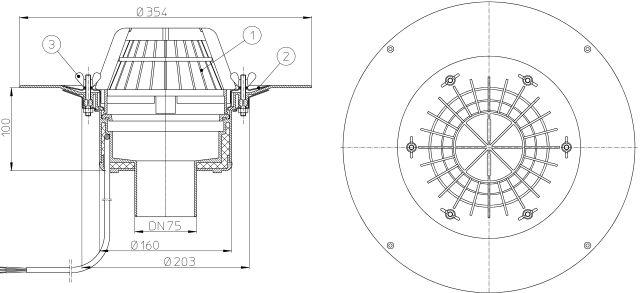 HL62.1/7 Tetőlefolyó DN75 szigetelőkarimával, szorítóelemmel és 10-30W/230V fűtéssel