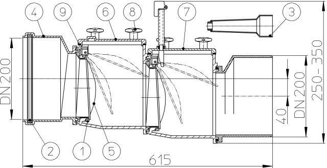 HL720.2 Visszatorlás gátló szelep, DN200, 2 db. nemesacél csappantyúval, tisztítófedéllel, kézi zárral