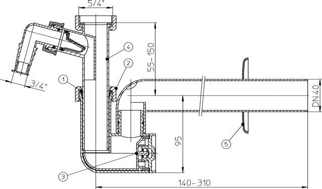 HL133/40 Mosdószifon DN40x5/4' mosógép-csatlakozóval, elfordítható kimenettel, tisztítókazettával és rozettával
