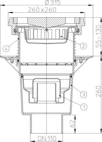 HL616.1W/1 Perfekt lefolyó DN110 függőleges kimenettel, szigetelő karimával, 260x260mm öntöttvas kerettel, 226x226mm öntöttvas ráccsal, vízbűzzárral, szemétfogó kosárral.