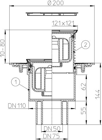 HL310NPr-3000 Padlólefolyó DN50/75/110 függőleges kimenettel, Primus bűzzárral, 121x121mm KLICK-KLACK/115x115mm ráccsal