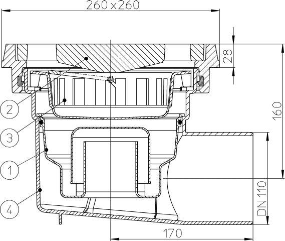 HL605.1W Perfekt lefolyó DN110 vízszintes kimenettel, 260x260mm öntöttvas kerettel, 226x226mm öntöttvas ráccsal, vízbűzzárral, szemétfogó kosárral.