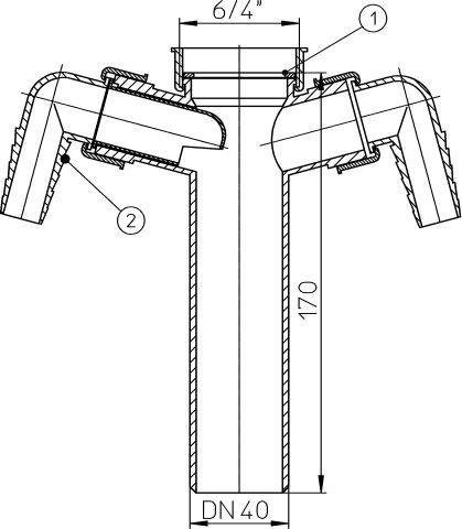 HL13-2/40 Bekötőcső DN40x6/4', 2 db mosógép-csatlakozóval