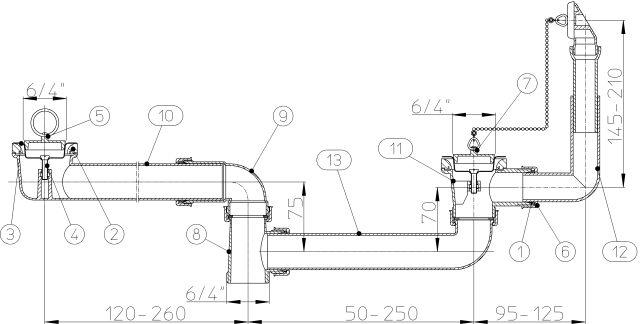 """HL25U-6/4 Lefolyó csatlakozó DN40 x6/4"""" 2 db. lefolyószeleppel, túlfolyóval különleges mosogatókhoz"""