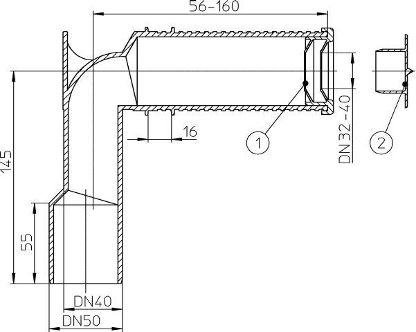 HL34 Sifonkönyök DN40/50 rövidíthető bemenet, dugható tömítés, a szifoncsőhöz DN32 und DN40