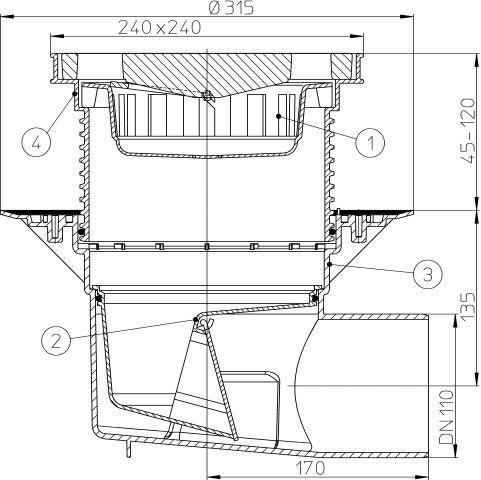 HL615 Perfekt lefolyó DN110 vízszintes kimenettel, szigetelő karimával, 244x244mm műanyag kerettel, 226x226mm öntöttvas ráccsal, mechanikus bűzzárral, szemétfogó kosárral.