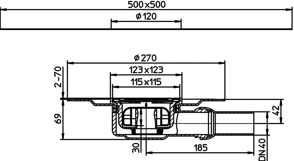 """HL90PrD Szuperalacsony padlólefolyó, szigetelő karimával, """"Primus"""" szifonnal, 123x123mm/115x115mm rácstartóval és ráccsal"""