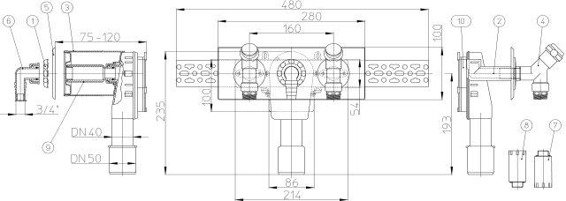 """HL406.2 Mosógép-szifon falba süllyesztve DN40/50, 2 db.1/2"""" légbeszívós sarokszeleppel 110x280 nemesacél fedéllel"""
