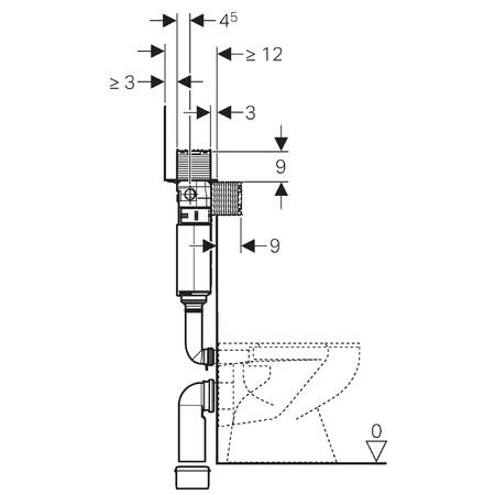 Geberit Omega falsík alatti öblítőtartály, 98 cm, fentről/elölről működtethető 109.050.00.1 / 109050001