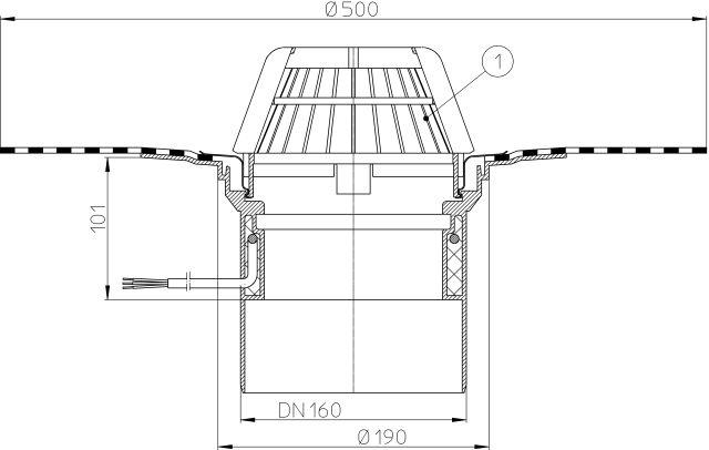HL62.1H/5 Tetőlefolyó DN160, gyárilag felhegesztett bitumengallérral, és 10-30W/230V fűtéssel
