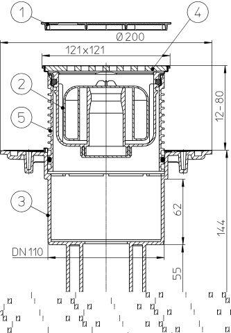 """HL310NPr-3121 Padlólefolyó DN50/75/110 függőleges kimenettel, Primus bűzzárral, 121x121mm KLICK-KLACK/115x115mm """"Seine"""" ráccsal"""
