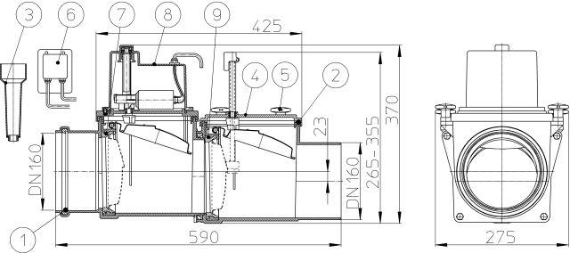 HL715.2EPC Visszatorlás gátló szelep, DN160, 2 db. nemesacél csappantyúval, tisztítófedéllel, kézi zárral, elektronikus vezérlőegységgel és távvezérlő csatlakozással