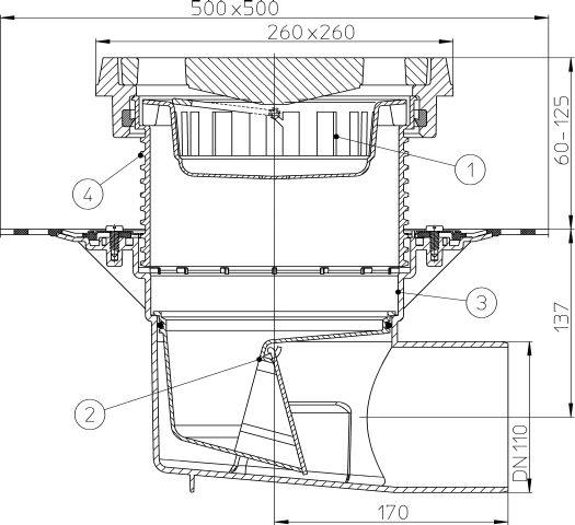 HL615.1H Perfekt lefolyó DN110 vízszintes kimenettel, gyárilag felhegesztett bitumengallérral, 260x260mm öntöttvas kerettel, 226x226mm öntöttvas ráccsal, mechanikus bűzzárral, szemétfogó kosárral.