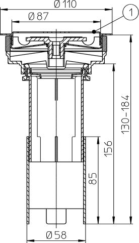 HL307.0 Betét d 110mm nemesacél ráccsal d 85mm