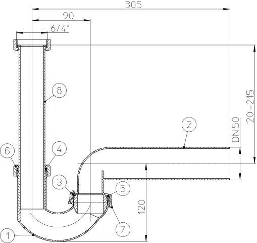 """HL100G/50 csőszifon DN50x6/4"""" gömbcsuklóval, mosogató szifon"""