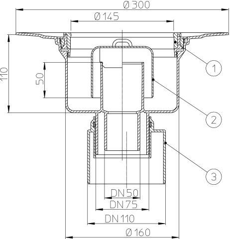 HL317K Padlólefolyó test DN50/75/110 függőleges kimenettel, szigetelő karimával
