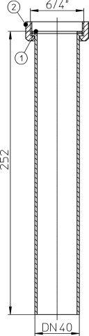 HL13G.0/40 Bekötőcső DN40x6/4' átlátszó