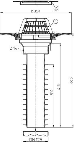 HL69P/2 Lapostető lefolyó felújításhoz, DN125 csőhöz, PVC karimával.