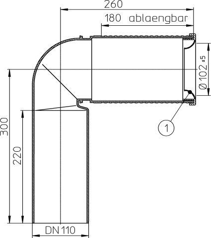 HL224.WE WC-csatlakozó könyök DN110 rövidíthető bemenettel