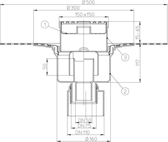 HL317H Padlólefolyó DN50/75/110 függőleges kimenettel, bitumen szigetelő gallérral, bűzzárral,147x147mm/138x138mm