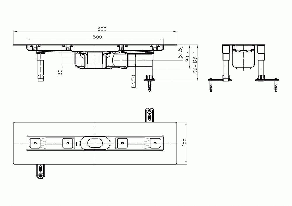 HL50FF.0/60 Alacsony beépítési magasságú, sík kivitelű zuhanyfolyóka nemesacélból, DN50 kimenetű lefolyóval, szerelési segédanyagokkal, fedőléc nélkül. Beépítési hossz 600mm.