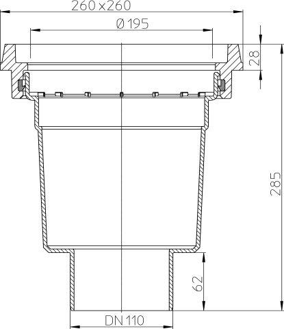 HL606.1K/1 Perfekt lefolyó test DN110függőleges kimenettel, 260x260mm öntöttvas kerettel