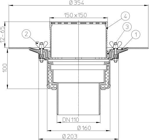 HL62B/1 Tetőlefolyó DN110 szigetelőkarimával, szorítóelemmel, 148x148mm/137x137mm lefolyóráccsal