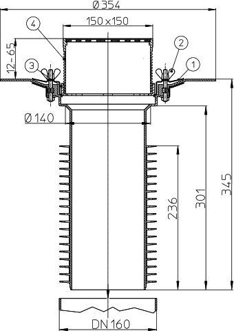HL69B/5 Tetőlefolyó, DN160 tetőjavításhoz, 148x148mm/137x137mmlefolyóráccsal