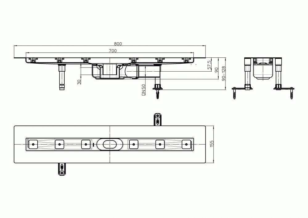 HL50FF.0/80 Alacsony beépítési magasságú, sík kivitelű zuhanyfolyóka nemesacélból, DN50 kimenetű lefolyóval, szerelési segédanyagokkal, fedőléc nélkül. Beépítési hossz 800mm.