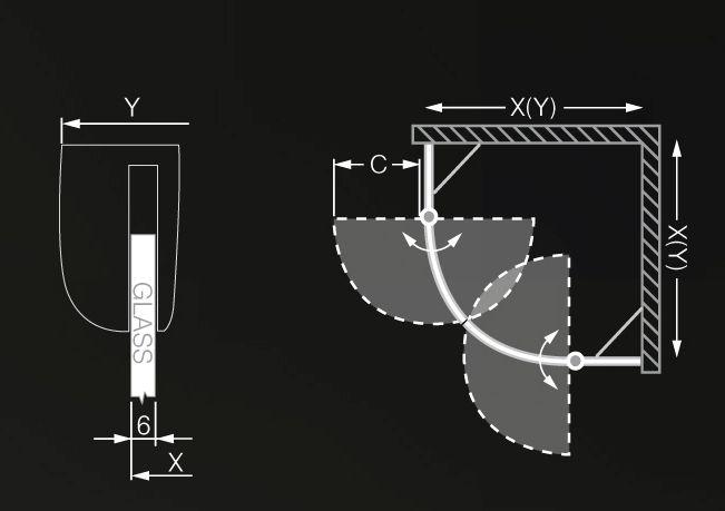 Roltechnik TR2 Light/900 íves zuhanykabin / 90x200 cm / brillant profillal / transparent üveggel