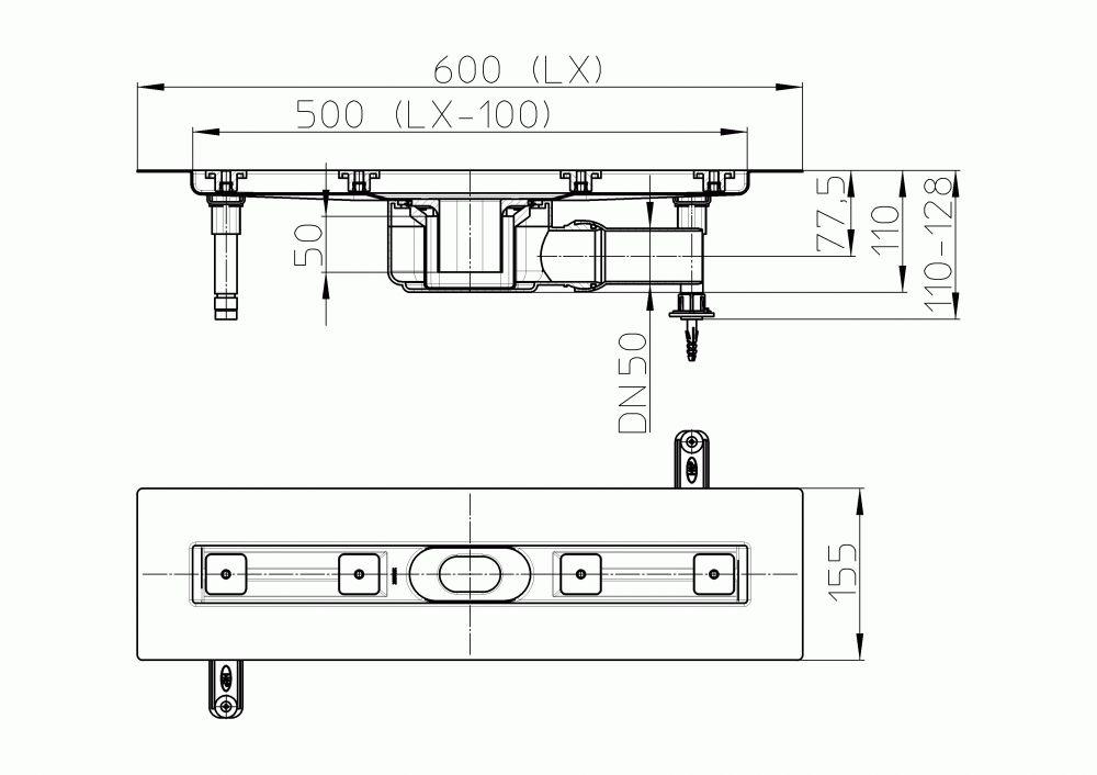 HL50F.0/60 Sík kivitelű zuhanyfolyóka nemesacélból, DN50 kimenetű lefolyóval, szerelési segédanyagokkal, fedőléc nélkül. Beépítési hossz 600mm.