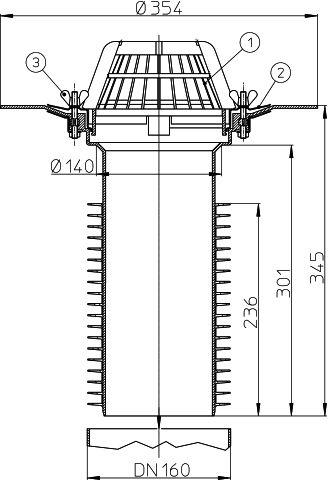 HL69/5 Tetőlefolyó DN160 tetőjavításhoz