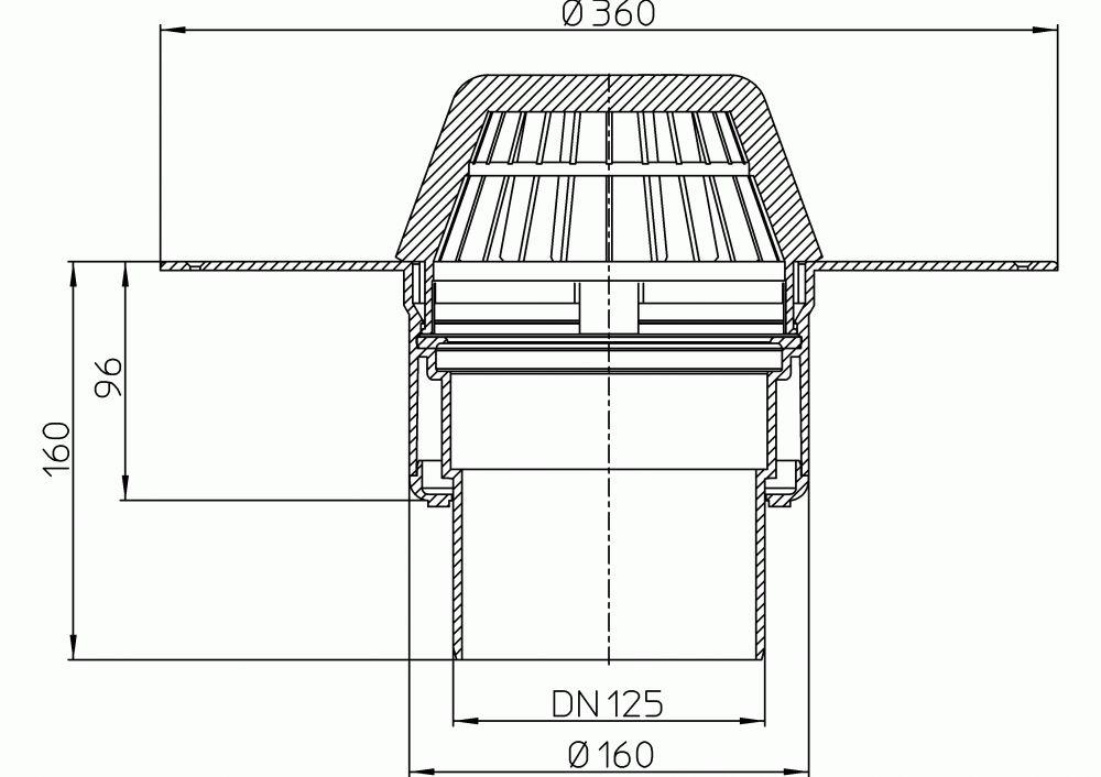 HL62P/2 Lapostető lefolyó DN125, PVC karimával.