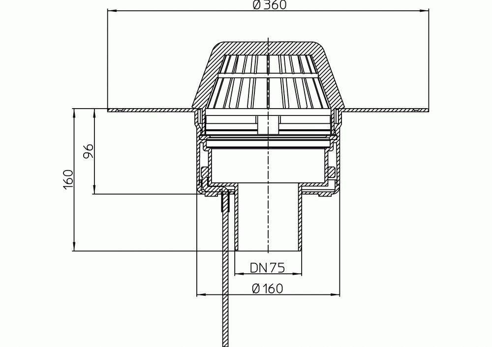 HL62.1F/7 Lapostető lefolyó függőleges DN75, PP szigetelő tárcsával, fűthető (10-30W/230V), lombfogó kosárral