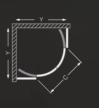 Roltechnik ECR2/900 íves zuhanykabin / 90x185 cm / brillant profillal / transparent üveggel