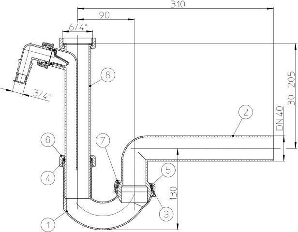 """HL100/40 csőszifon DN40x6/4"""" gömbcsuklóval és mosógép csatlakozóval, mosogató szifon"""