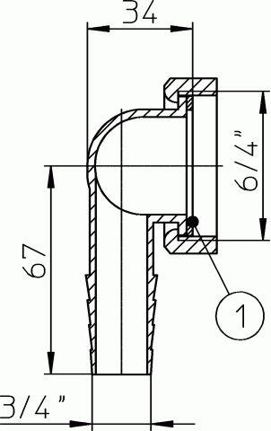 HL18 Uni-átmanati idom 6/4'x3/4'