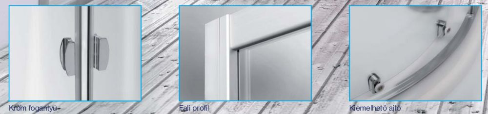 Roltechnik ECR2/800 íves zuhanykabin / 80x185 cm / ezüst profillal / chinchilla üveggel
