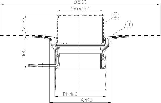HL62.1BH/5 Tetőlefolyó DN160, gyárilag felhegesztett bitumengallérral, lefolyóráccsal és 10-30W/230V fűtéssel