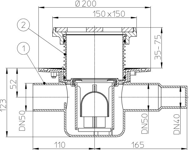 HL300G Padlólefolyó DN50 vízszintes kimenettel, szigetelő karimával, DN40/50 bemenettel, 150x150mm rácstartóval és ráccsal