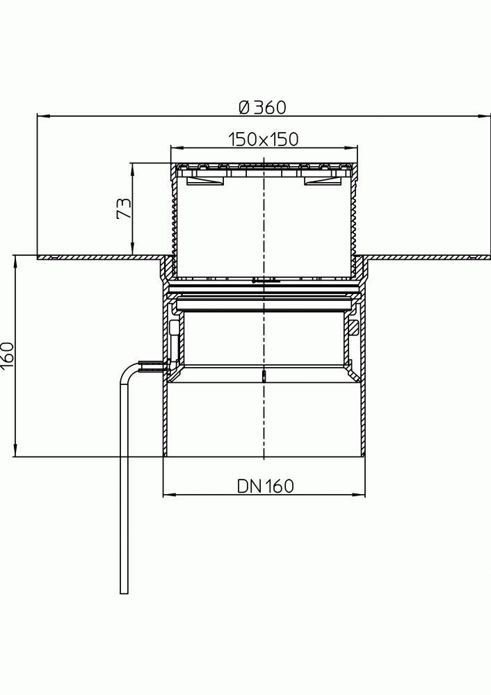 HL62.1BP/5 Lapostető lefolyó DN160, PVC karimával, fűtéssel (10-30W/230V), járható kivitel (148x148mm/137x137mm).