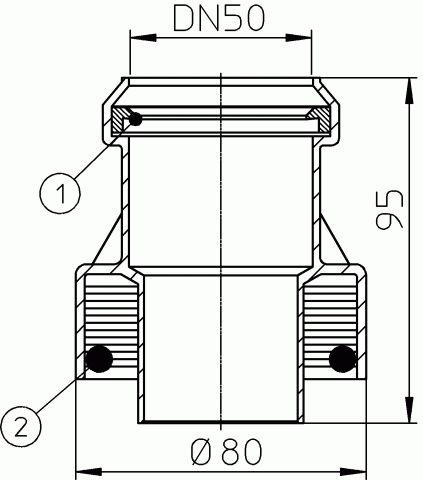 HL9/50ET Átmeneti idom DM50 műanyag/eternit