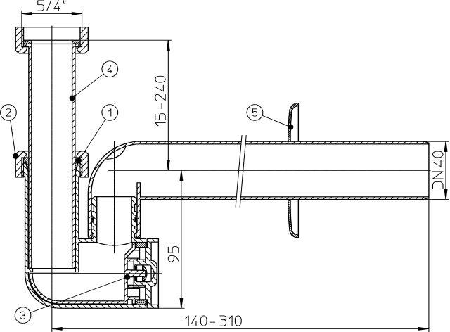 HL135/40 Mosdószifon DN40x5/4', elfordítható kimenettel, tisztítókazettával és rozettával