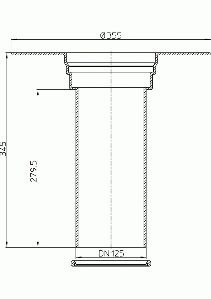 HL65F Szigetelő karimás magasító elem PP szigetelő tárcsával (345mm / d 125mm)