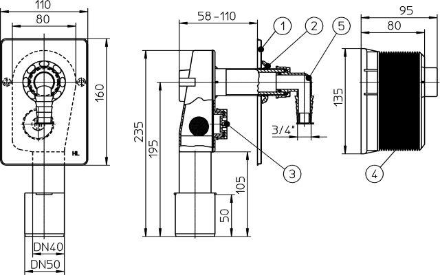 HL400.WE Mosógép-szifon falba süllyesztve DN40/50, HL19 tömlőcsatlakozóval, beépítő házzal, 110x160 fehér fedéllel