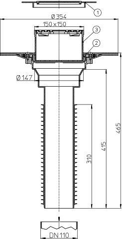 HL69BP/1 Lapostető lefolyó felújításhoz, DN110 csőhöz, PVC karimával, járható kivitel (148x148mm/137x137mm).