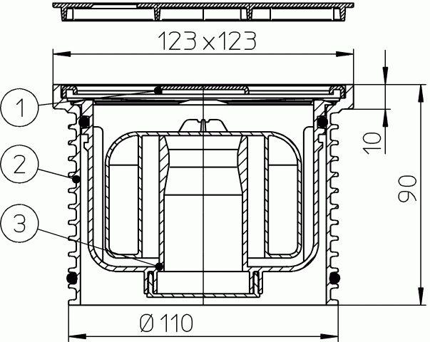 """HL37NPr Magasító elem d 110mm/123x123mm/115x115mm """"Primus"""" bűzzárral"""