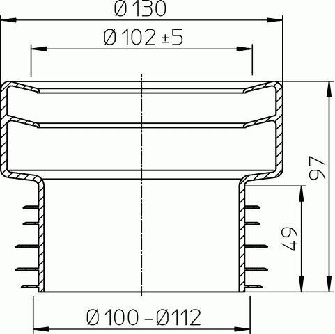 HL201/1 WC-csatlakozó többrészes DN110 ajakos tömítéssel