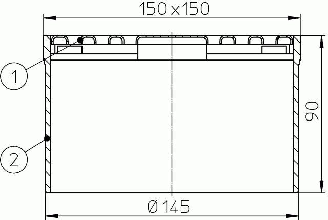 HL66.3 Rácstartó 205mm/d 145mm, 147x147mm/137x137mm nemesacél lefolyóráccsal