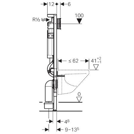 Geberit Duofix WC szerelőelem fali WC részére Sigma 12cm-es öblítőtartállyal, állítható oldaltámasszal / 111.385.00.5 / 111385005